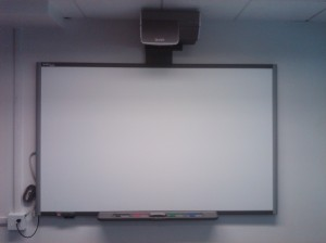 Our new mounted SmartBoard in the HEDCO Technology Support Center